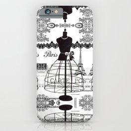 Vintage black white Paris French dress mannequin pattern iPhone Case