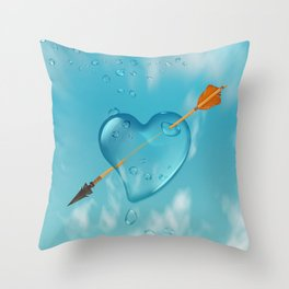 Stabbed water drop heart Throw Pillow