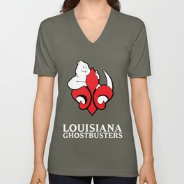 Louisiana Ghostbusters Logo with Black Background Unisex V-Neck