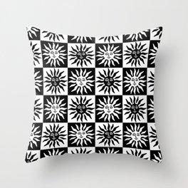 Mid Century Modern Sun Pattern Black and White Throw Pillow