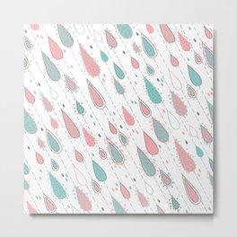 Rain Drops Teal and Pink Metal Print