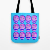 sugar skulls Tote Bags featuring Sugar Skulls by GLITTER PICNIC