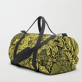 Squirrels Zentangle Drawing Yellow Duffle Bag