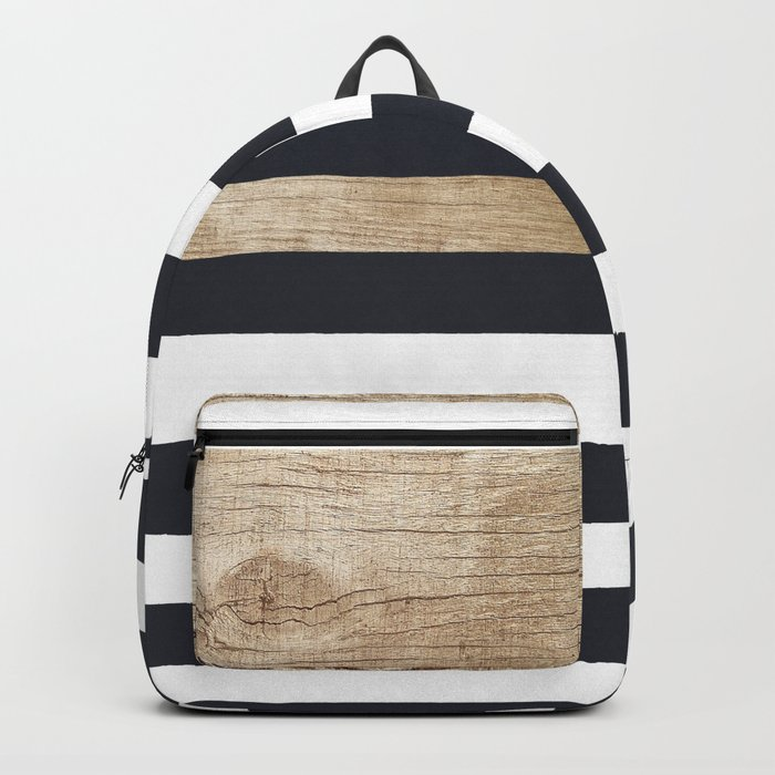 Navy stripe + wood Backpack