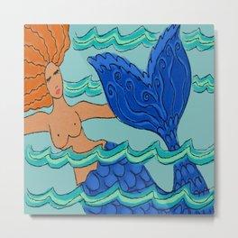 Swimming Mermaid Abstract Digital Painting Metal Print