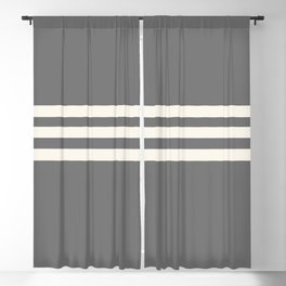 Grey Solid with Treble Ivory Stripes Minimalist Color Block Pattern Blackout Curtain