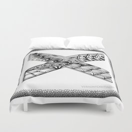 Zentangle X Monogram Alphabet Initial Duvet Cover