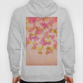 Autumn - world 1 - gold glitter leaves on pink background Hoody
