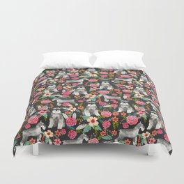 Schnauzer floral must have dog breed gifts for schnauzers owners florals Duvet Cover