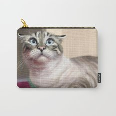 Cat Surprised Funny Animals with Feather Siamese Lynx-Point Carry-All Pouch