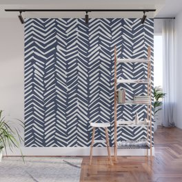 Boho Herringbone Pattern, Navy Blue and White Wall Mural