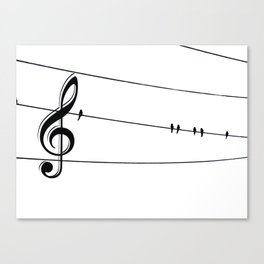 Natures Choir Birds on Wire Music Note A611W Canvas Print