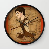 potter Wall Clocks featuring James Potter by Imaginative Ink