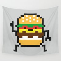 8 bit Wall Tapestries featuring 8 Bit Burger by Alby Letoy