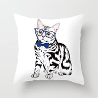 kitty Throw Pillows featuring Kitty by 13 Styx