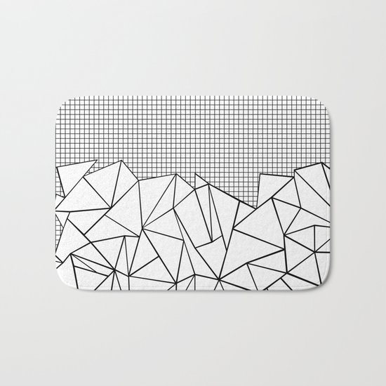 Abstract Outline Grid Black on White Bath Mat