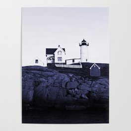 Navy Blue Lighthouse Poster