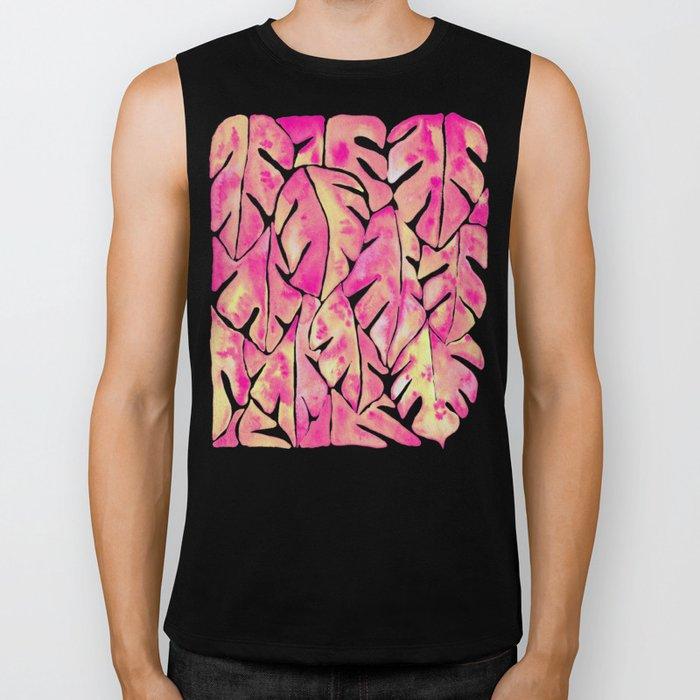 Split Leaf Philodendron – Pink Biker Tank