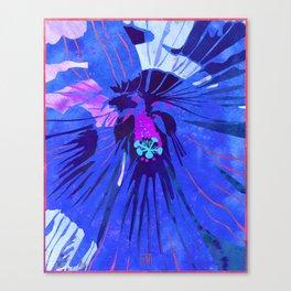 Deep Blue Hibiscus Flower Watercolor Portrait Canvas Print