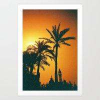 Sunset palms Art Print