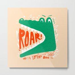 Cute wild crocodile roar hand drawn vintage illustration on pastel background Metal Print