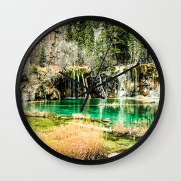 Natures Eternal Beauty // Long Exposure Waterfall and Teal Water Pond in the High Forest Wall Clock