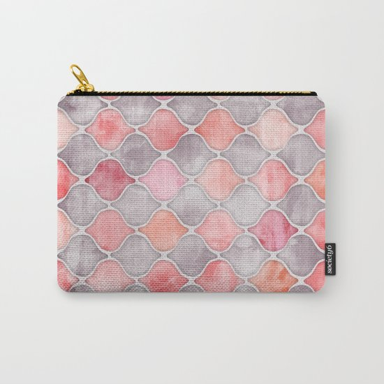 Rhythm of the Seasons - coral pink & grey Carry-All Pouch