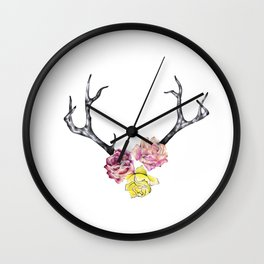 Antlers with Roses Wall Clock