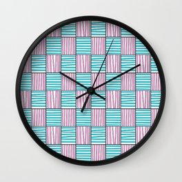 symetric tartan and gingham 22 -vichy, gingham,strip,square,geometric, sober,tartan Wall Clock
