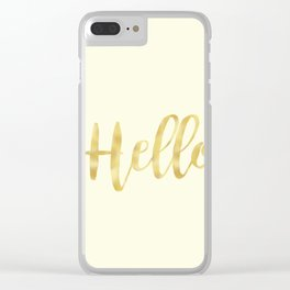 Hello in Golden Yellow on Cream Clear iPhone Case