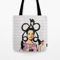 dress Tote Bags featuring Mini dress by Tom Tierney Studios
