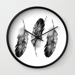 Three Feathers Black And White Wall Clock