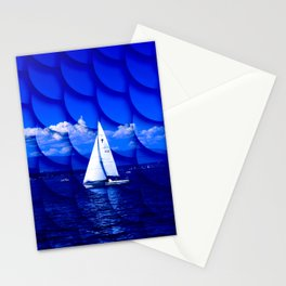sailing blue & fishscales Stationery Cards