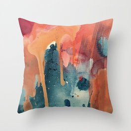 Pour Some Sugar on Me: a colorful mixed media abstract in pinks blues orange and purple Throw Pillow