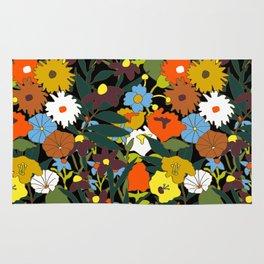 60's Swamp Floral in Midnight Black Rug