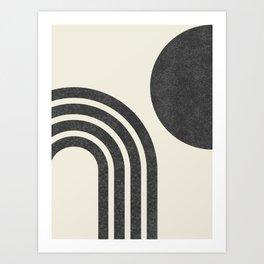 Mid Century Modern - Sun & Rainbow BW Art Print