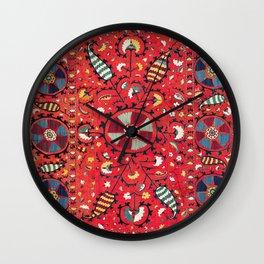 Lakai Suzani Samarkand Uzbekistan Embroidery Print Wall Clock