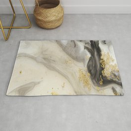 Marbled Paint Swirls in Cream, Gray and Gold Rug