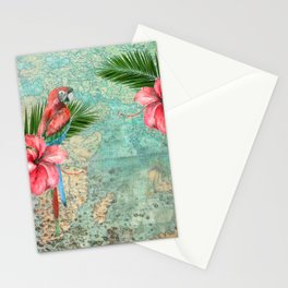 Tropical Map Stationery Cards