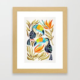 Tropical Toucans – Sepia Palette Framed Art Print