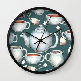 Tea Love Print, Cup of Tea, Tea Set, Hand-Painted, Vintage, Cream and Sugar, Cozy Tea Time Wall Clock
