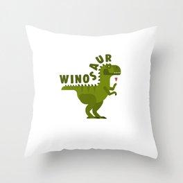 Winosaur Wine Drinking Dinosaur Throw Pillow