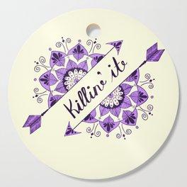 Arrow Mandala 'Killin It' Typography Purple Cutting Board