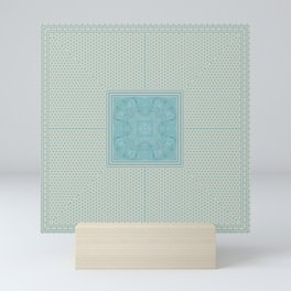 Turquoise Square Pattern Stone Mini Art Print
