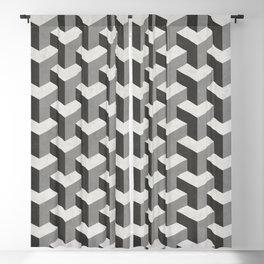 Interlocking Cubes Pattern - Black, White, Grey Blackout Curtain