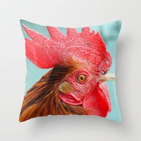cock Throw Pillows featuring cock by Michael Sofronski