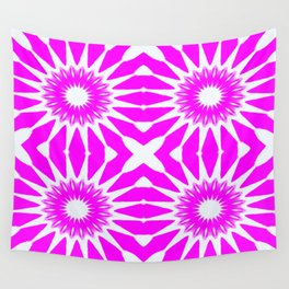 Hot Pink & White Pinwheel Flowers Wall Tapestry