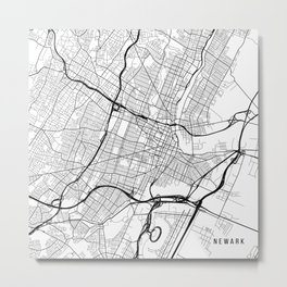 Newark Map, USA - Black and White Metal Print