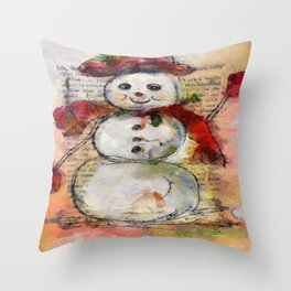 Snowman with Red Hat Throw Pillow