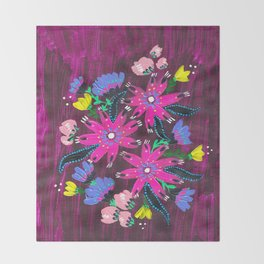 Magenta Bouquet Throw Blanket